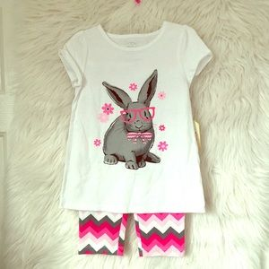 NEW FADED GLORY 2 pc legging top pajama set bunny